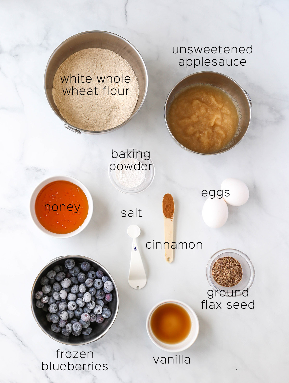 ingredients to make the blueberry muffins